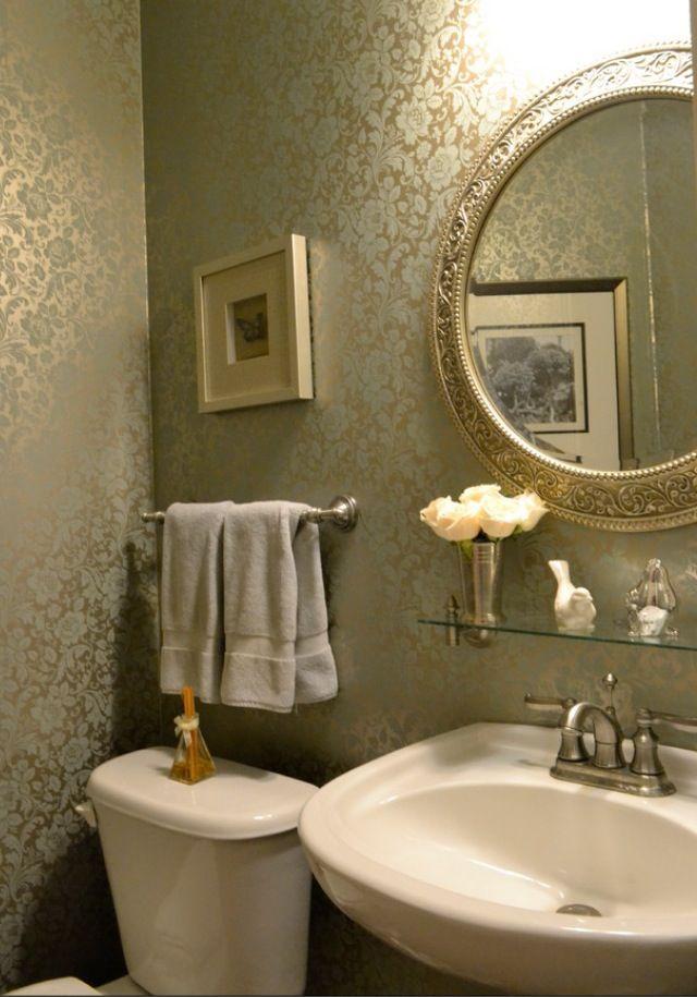 Floral Wallpaper Powder Room Kld Interiors Kld