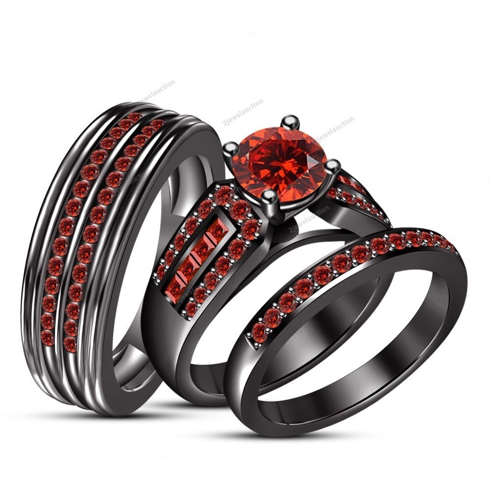 red garnet trio 14k black gold wedding ring set bridal his and her