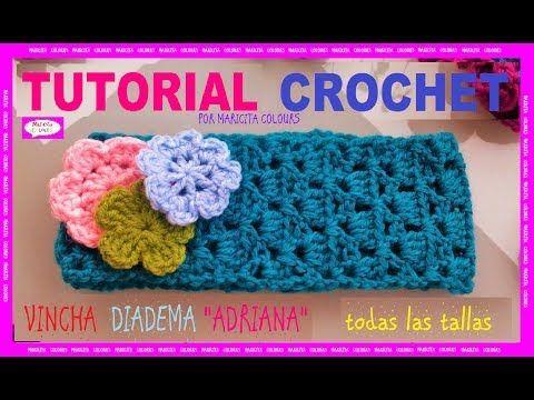 Vincha a Crochet Adriana Diadema por Maricita Colours - YouTube ...