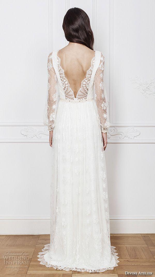 0cb1cb39cb5 divine atelier 2016 bridal gowns long sleeves illusion boat v neckline  romantic bohemian lace a line wedding dress low v back brush train (asia) bv