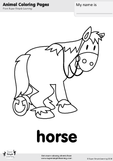 Free Horse Coloring Page From Super Simple Learning Tons Of Animal Worksheets And Flashcards
