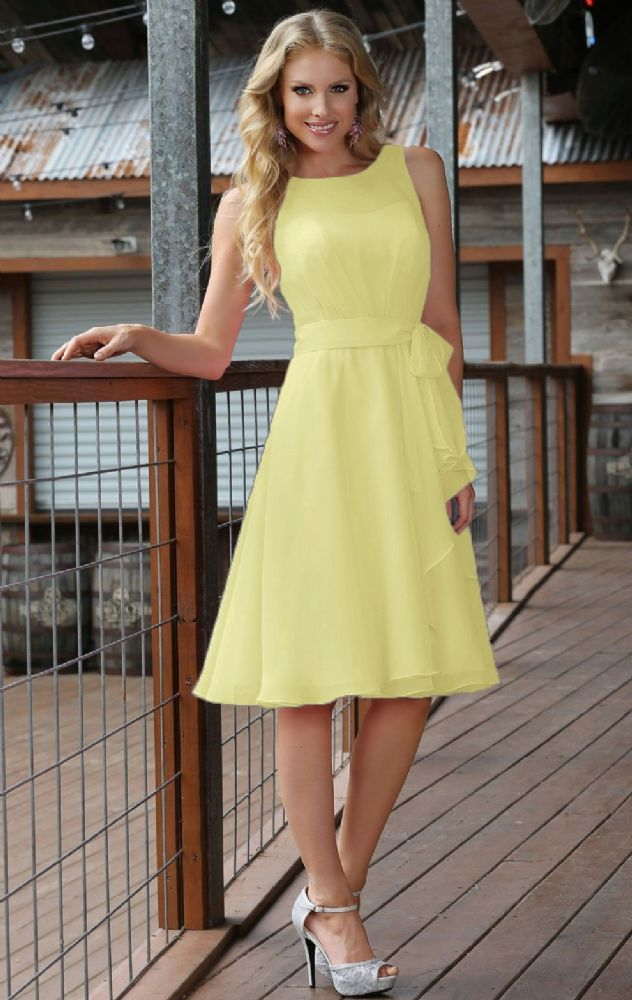 Beautiful knee length chiffon tea bridesmaid dress High ...