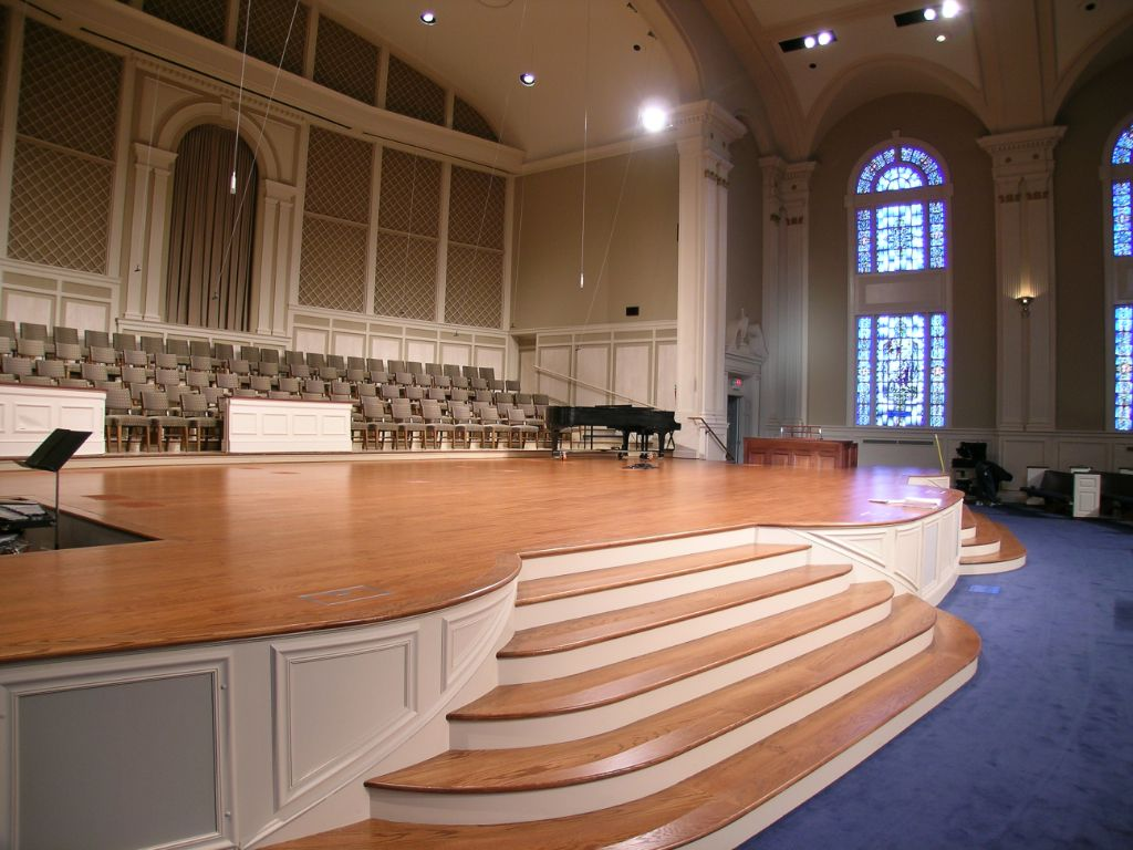 hardwood flooring church stage with choir church