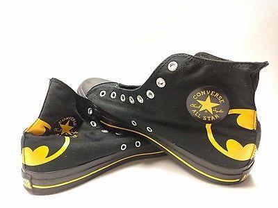 61676ed1f0c999 Converse All Stars Black Yellow Batman Batsign Chuck Taylor High Top size 12