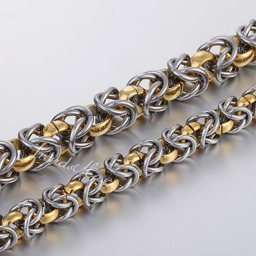 7 mm/9 mm 21 inch Byzantine Link Gold Silver Stainless Steel Necklace Boys Men's Chain