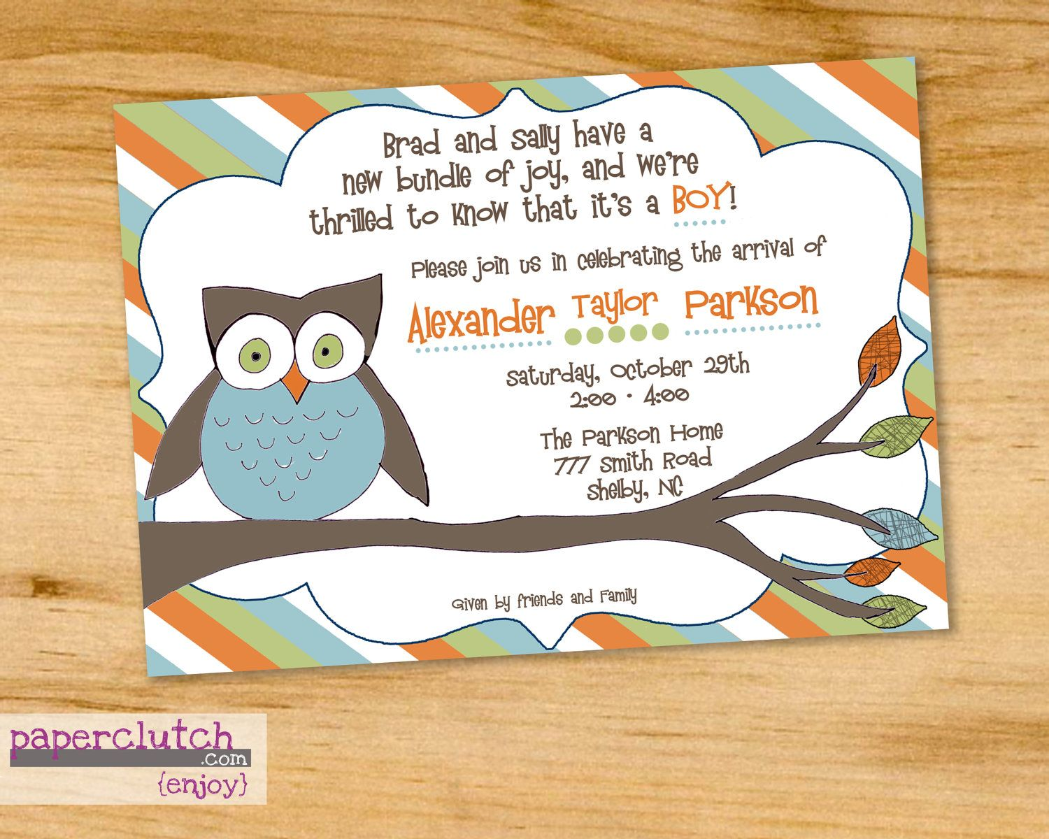 owl baby shower invitation wording and colors can be changed digital file or