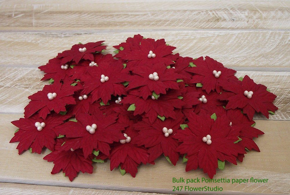 Bulk paper flowers 50 pcs poinsettia paper flowers red handmade excited to share the latest addition to my etsy shop bulk paper flowers 50 mightylinksfo