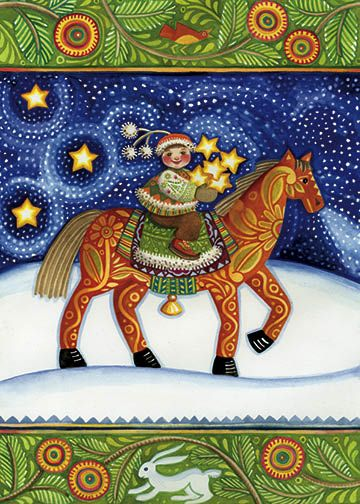 """""""Ninoshka"""" by Julie Paschkis holiday card.  Elf, child in winter clothes riding horse under night sky, stars."""