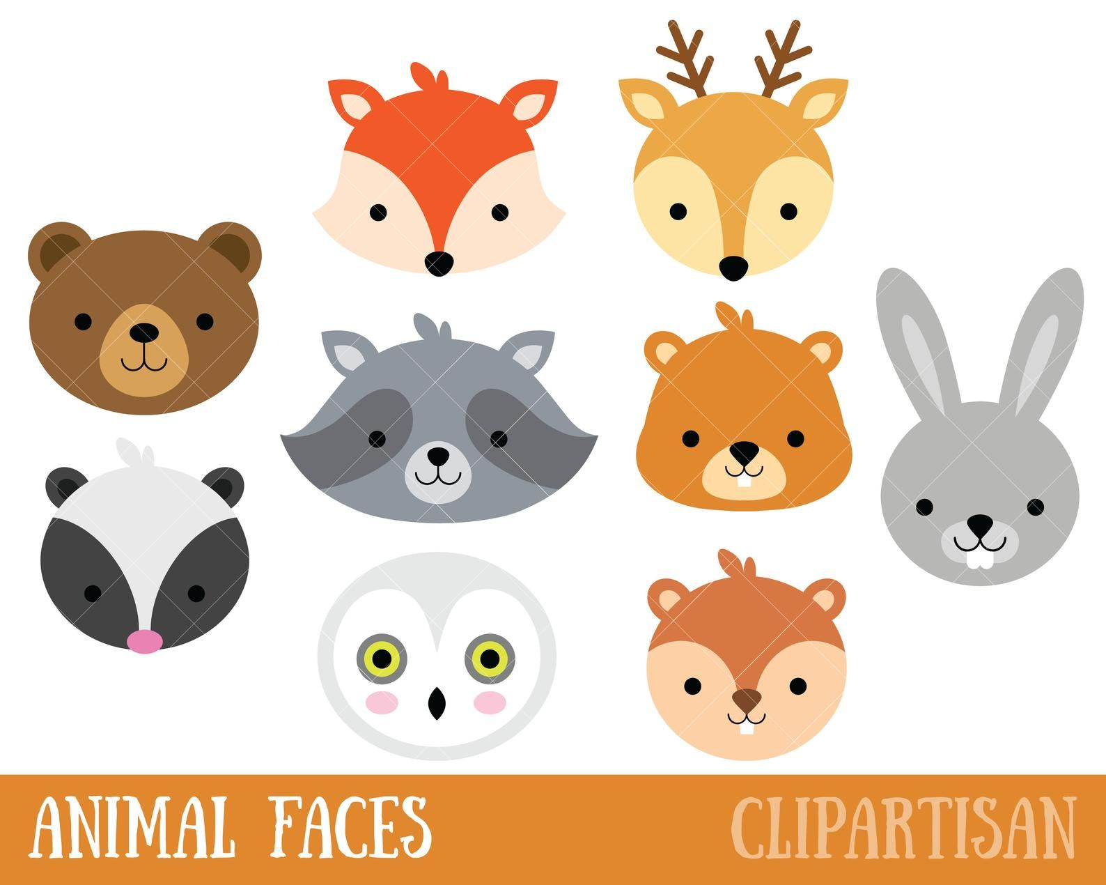 Woodland Animal Faces Clipart Photo Booth Masks Baby Shower Animal Faces Tribal Animals Animal Clipart