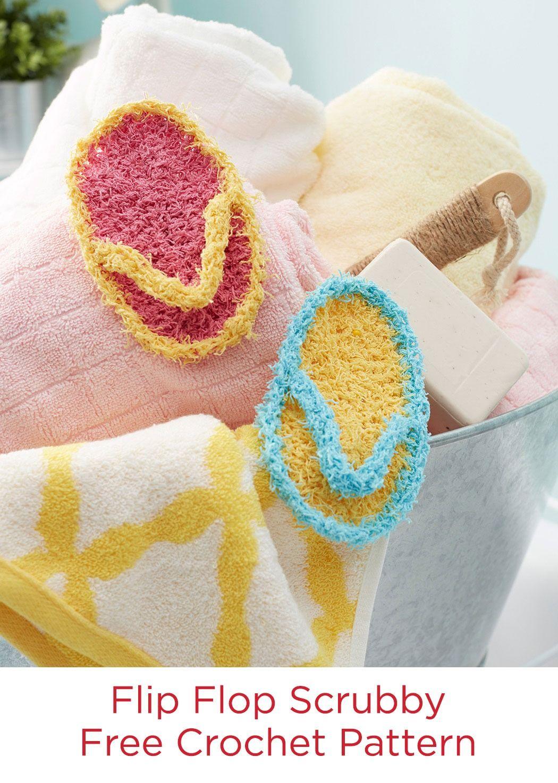 Flip Flop Scrubby Free Crochet Pattern in Red Heart Scrubby Cotton ...