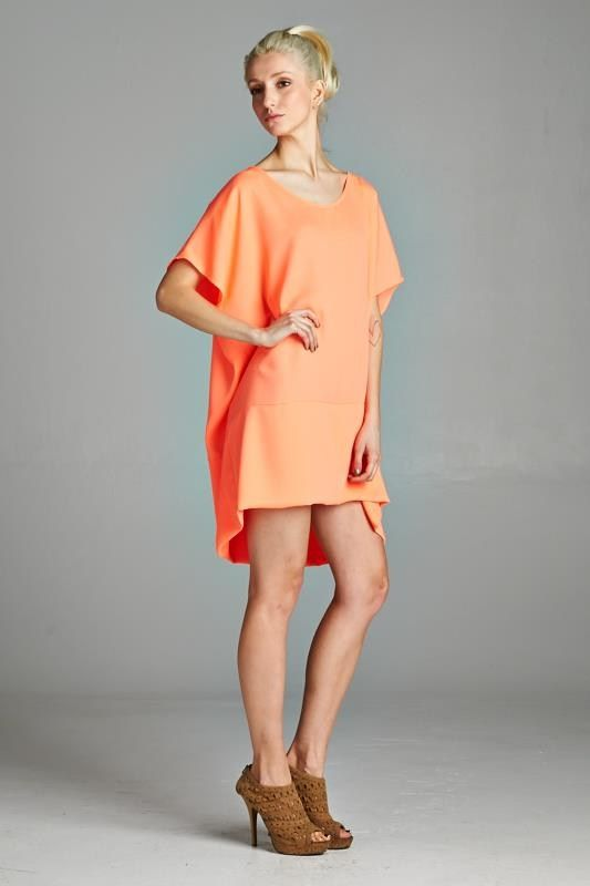 Oversized boxy dress that can be worn as is or over leggings. Baggy but stylish. Great with flats or with heels. Made in USA. www.cherishusa.com www.fashiongo.net/cherish