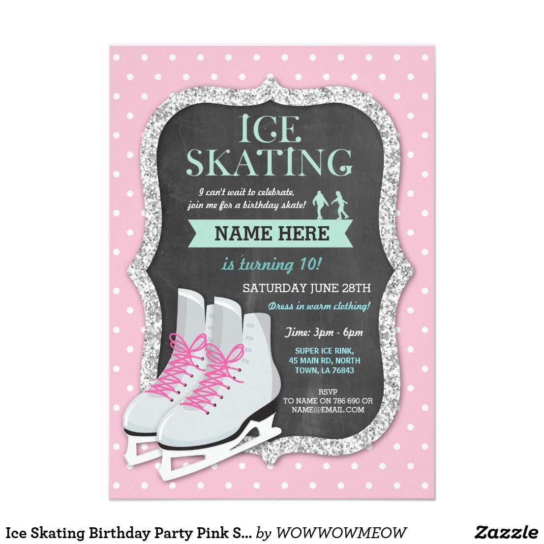 Ice Skating Birthday Party Pink Skate Invite | Skating party ...