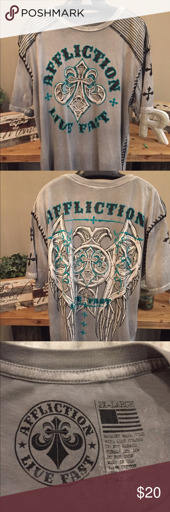 Affliction - Live Fast T-Shirt 2XL XXL - Excellent Condition Affliction Shirts Tees - Short Sleeve