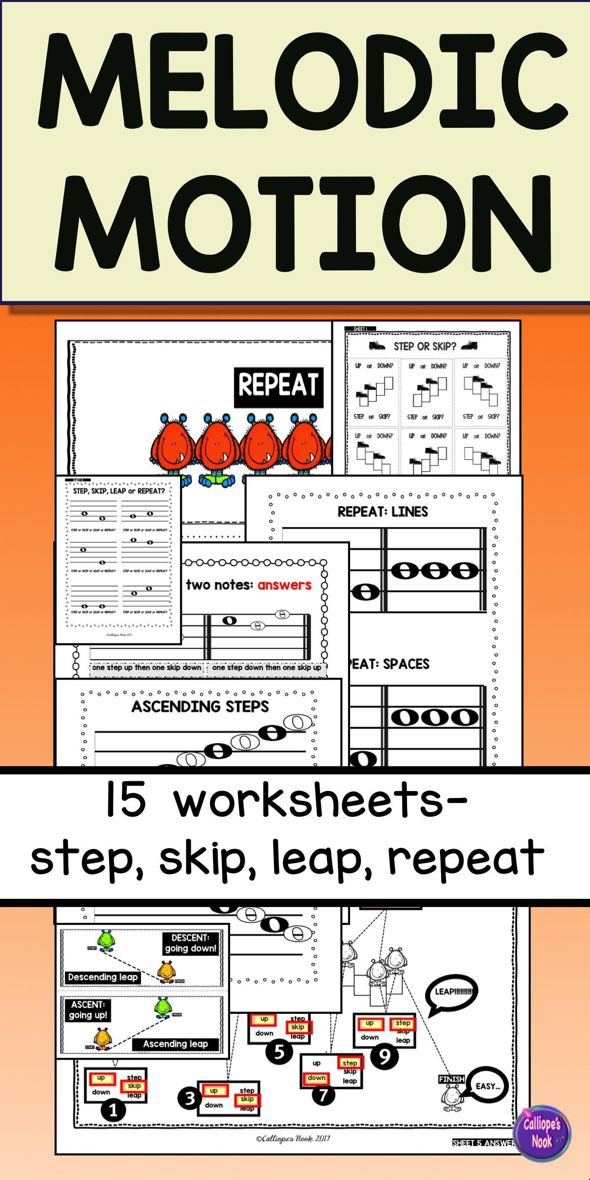 Explore melodic steps, skips, leaps, repeats. Easy to challenging worksheets  with accompanying slides and wall cards.