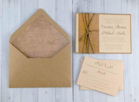 Vintage Travel Wedding Invitation   Travel Theme Wedding   Ivory And Brown  Wedding