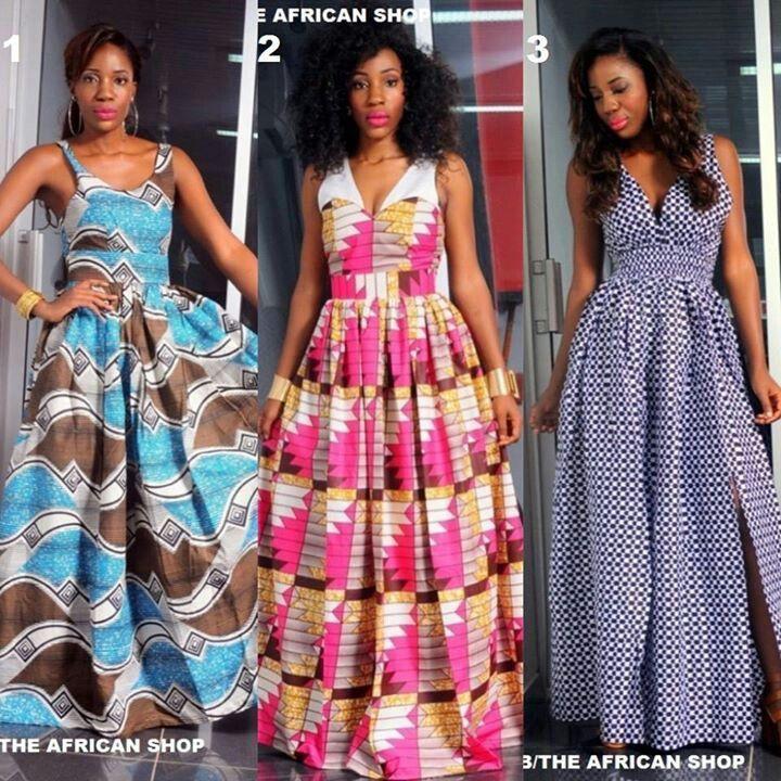 Modele longue robe en pagne