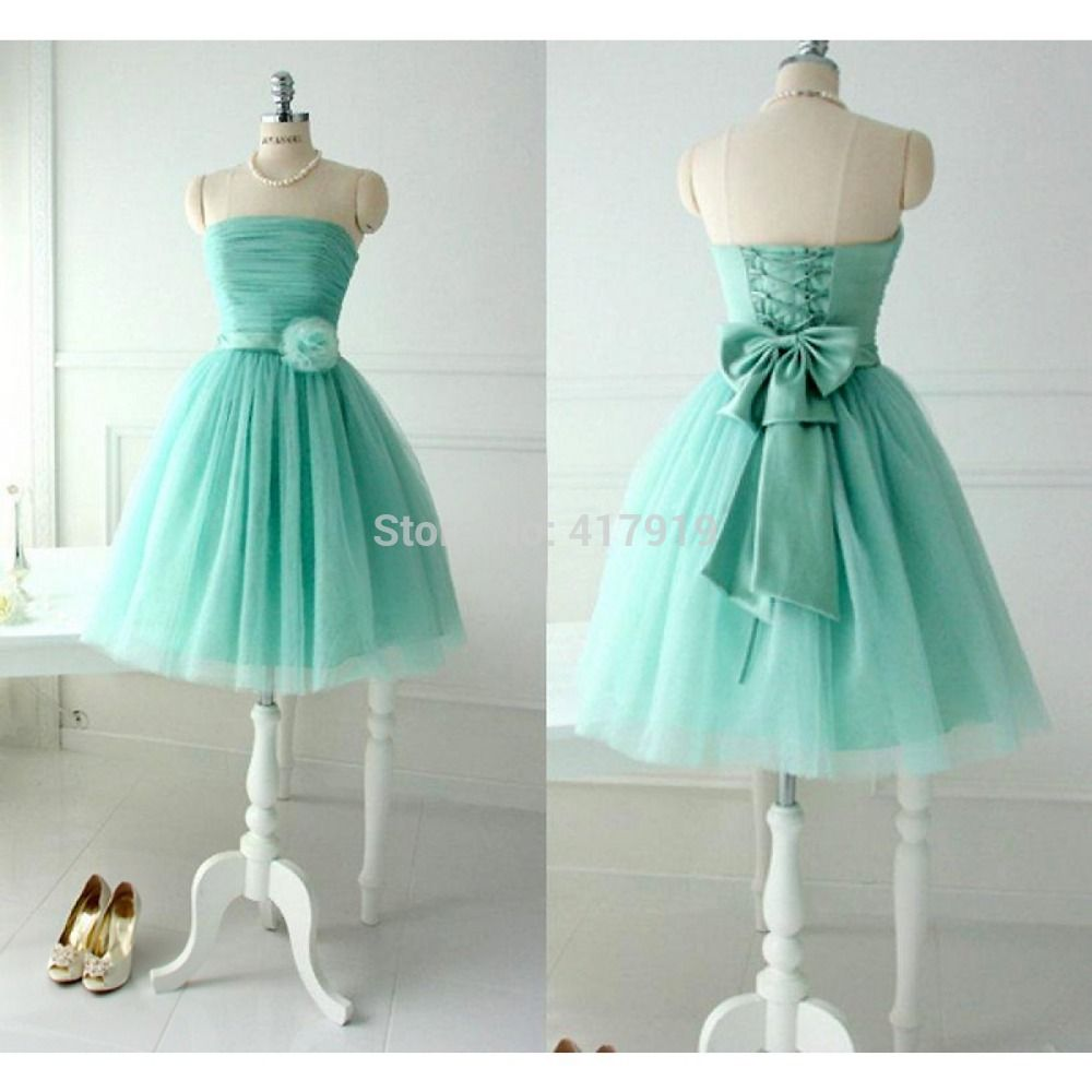 2016 Lovely Top Quality Chiffon Short Bridesmaid Dress Purple/Mint ...