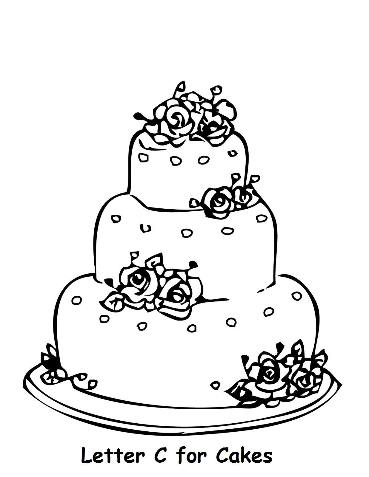 Letter C For Cake Colouring Page Wedding Coloring Pages Cake Drawing Wedding Cake Drawing