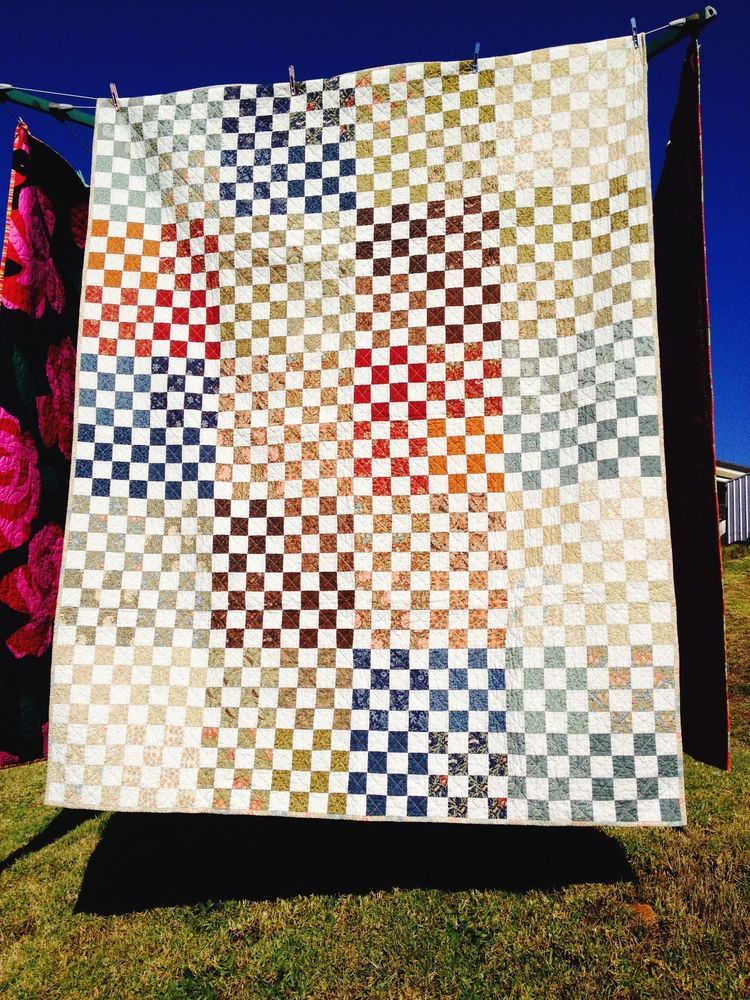 Handmade Patchwork Quilt William Morris Checker Board Double/Twin Size