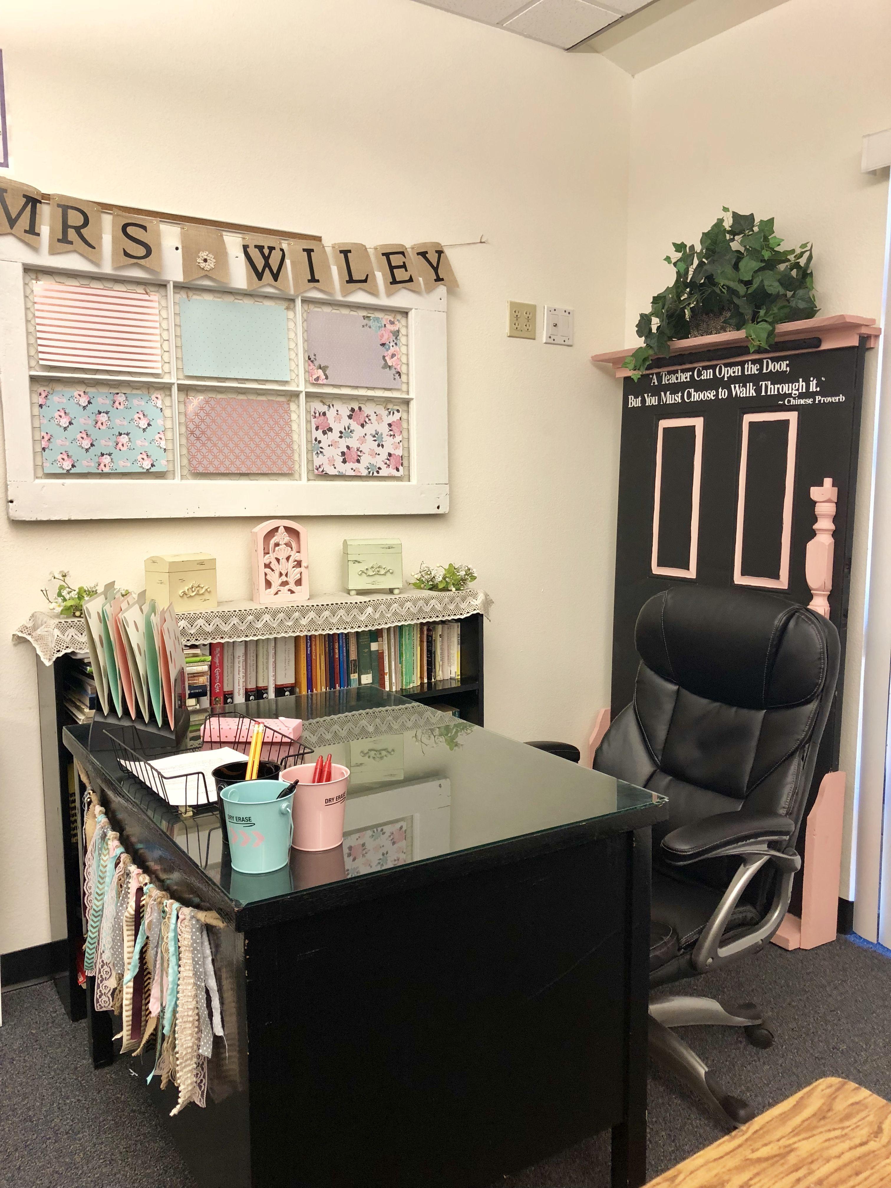 My Co Teachers Desk Area In My Classroom Farmhouse Classroom Decor Classroom Desk Classroom Decor Teacher Desk Areas