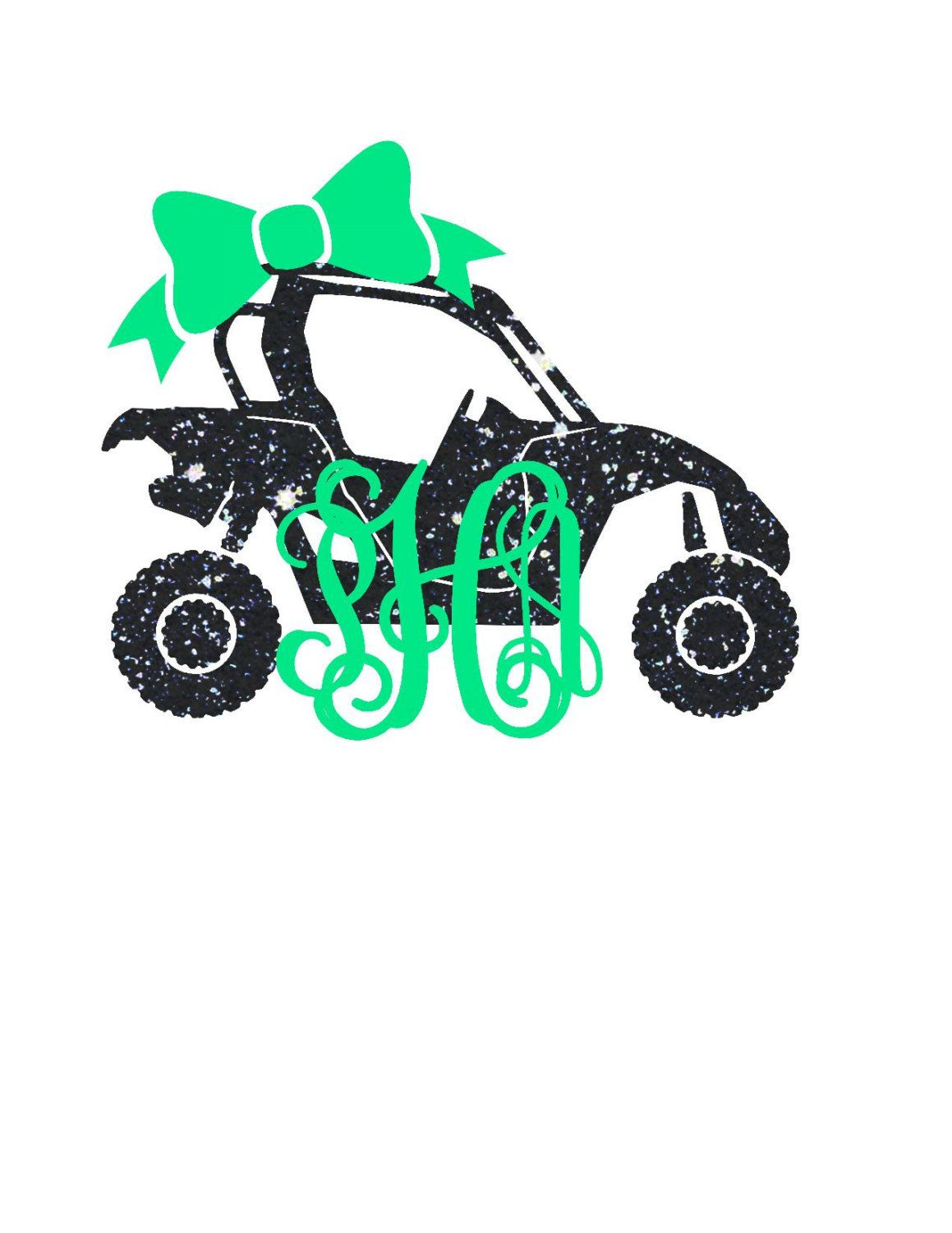 Side By Side Monogram Decal Atv Decal Yeti Monogram Southern