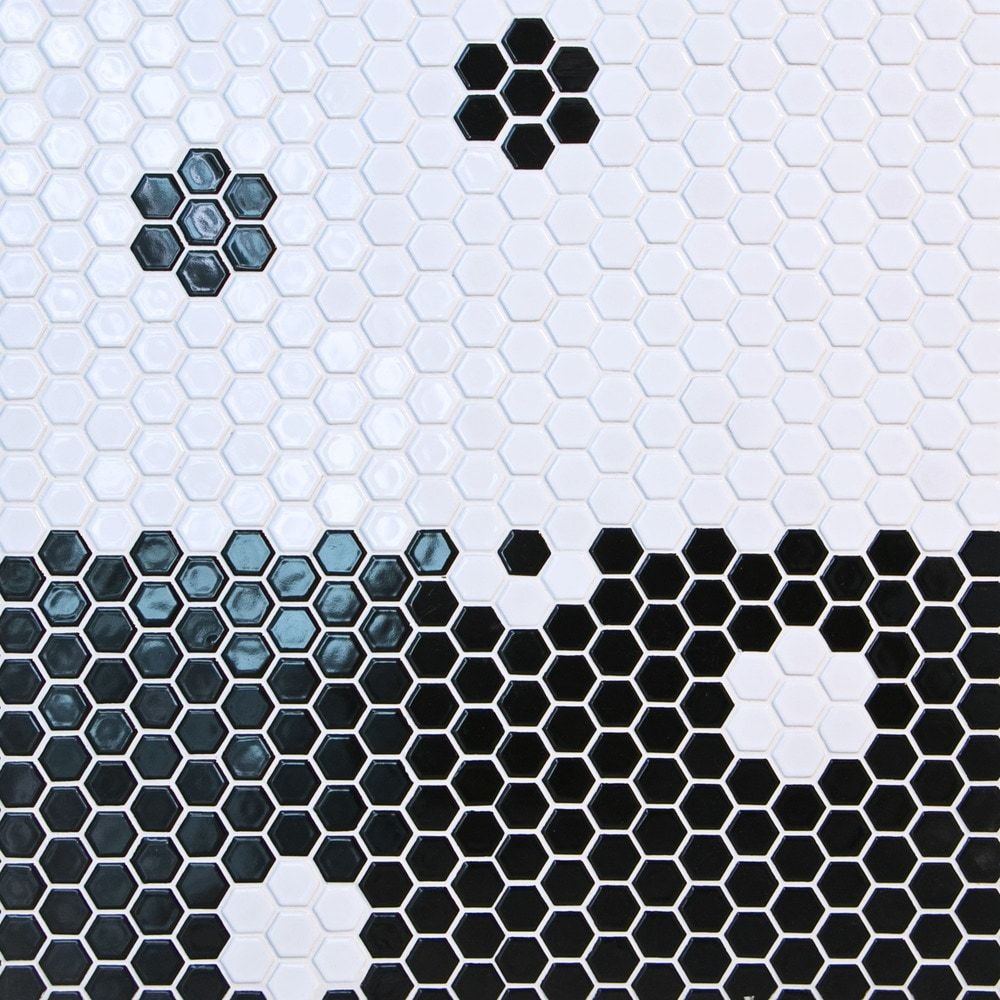 Order Gl Stone Tile Hexagon Ceramic Mosaic Tiles Black 1 X1 Glossy Delivered Right To Your Door