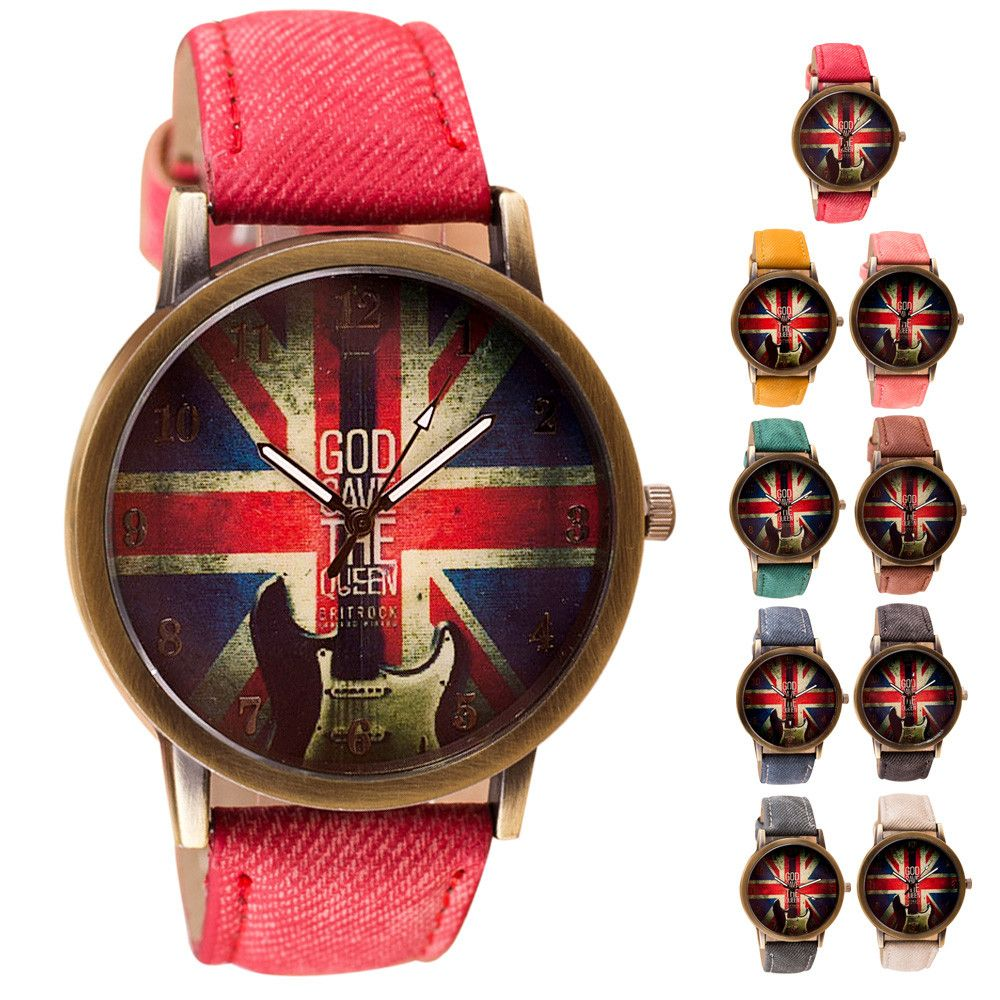 Newly design retro britain uk watch unisex pu leatherbased quartz