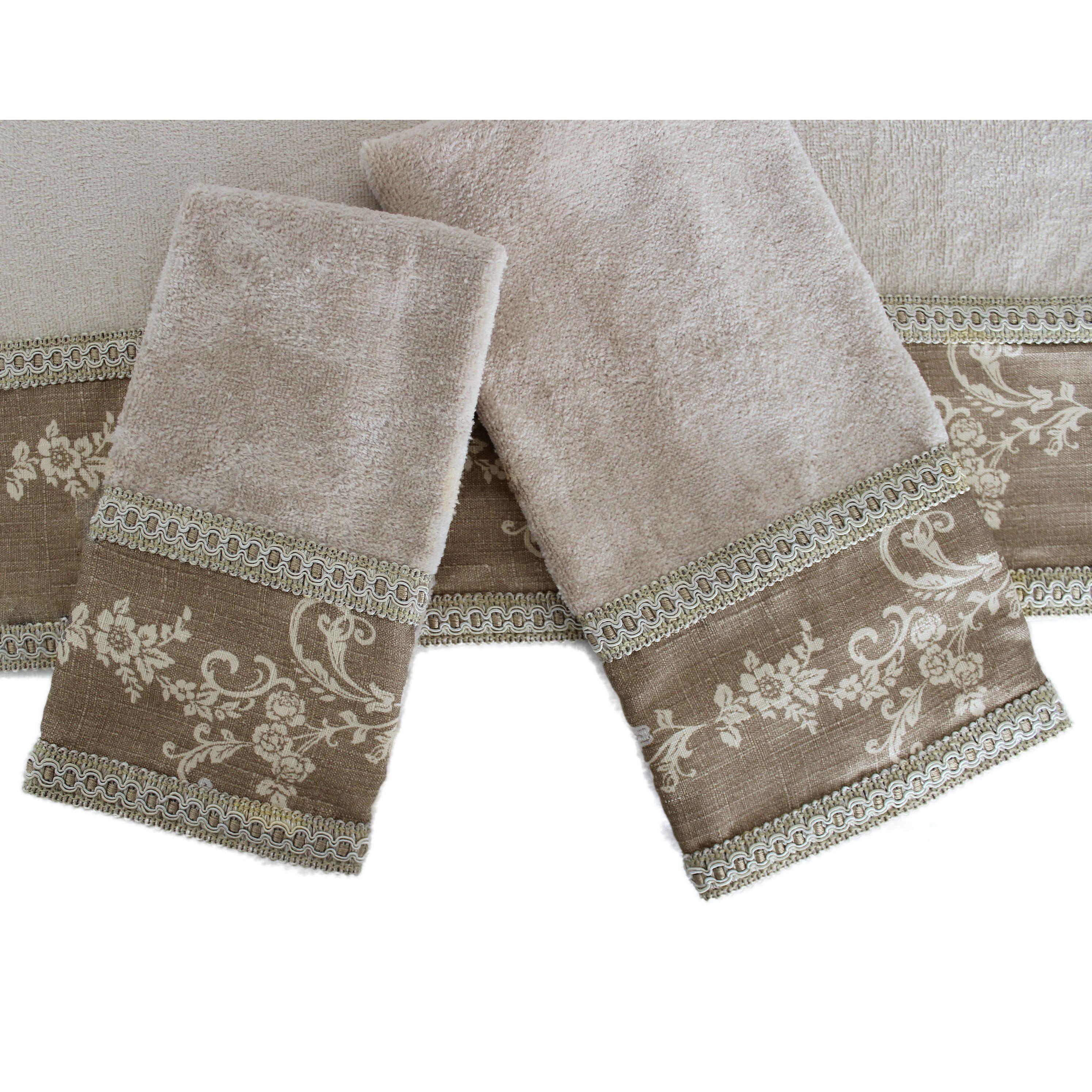 decorative original patterned luxury and fringe bath towel with embellished embellish avanti towels bathroom brown elegant blue decor sets