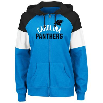 45bf909ff5399 Majestic Carolina Panthers Women s Blue Hot Route Full-Zip Hoodie