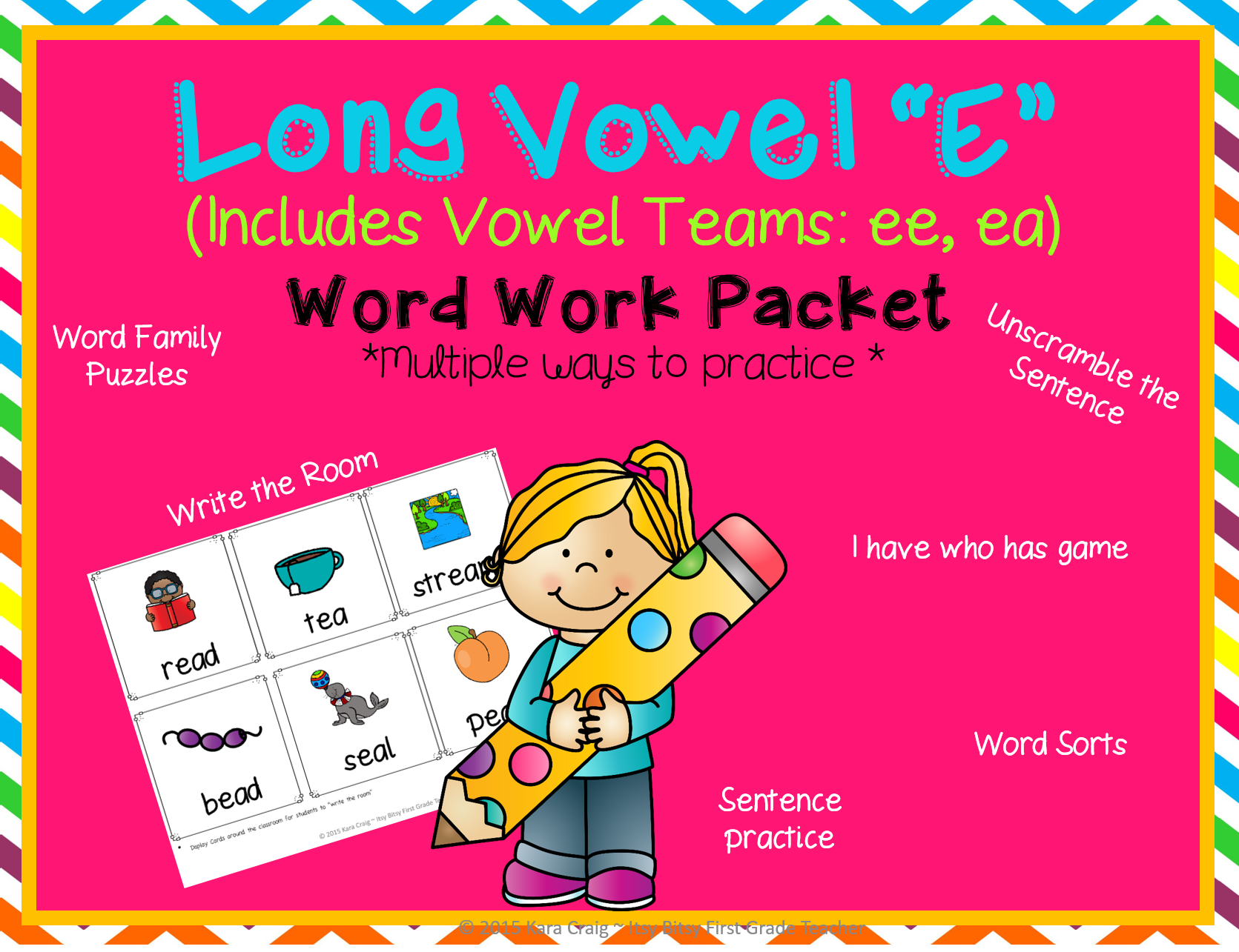 Long Vowel E Word Work Packet Includes Ee Ea