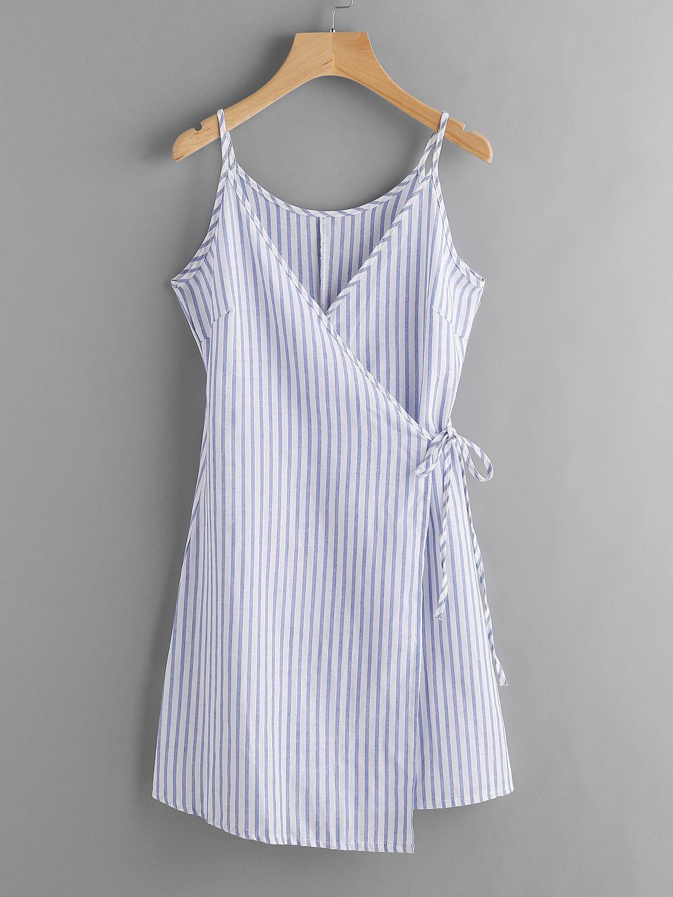 d28d9c93077 Blue Vertical Stripe Wrap Self Tie Cami Dress