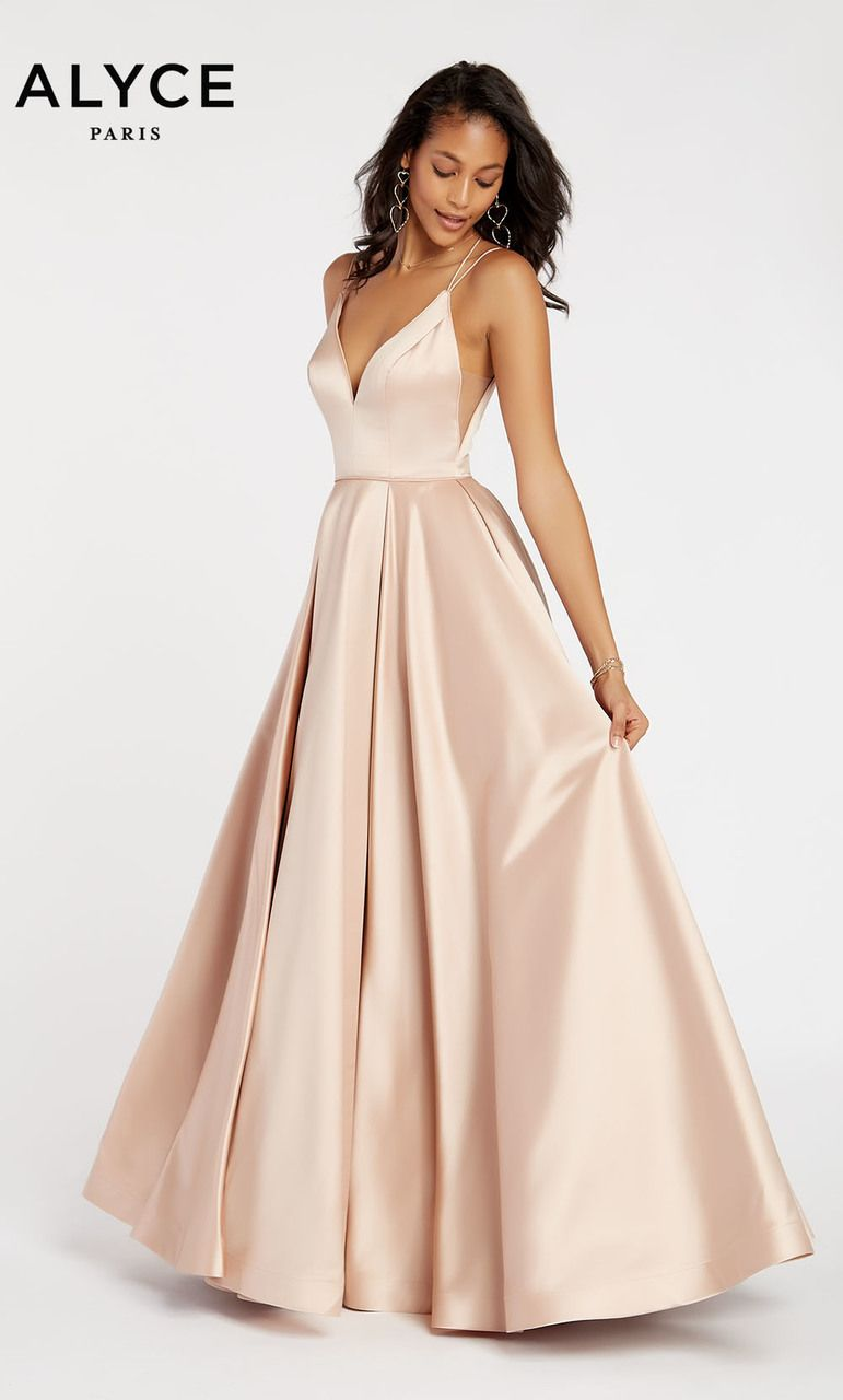 Alyce Paris Style 60347 Elegant Low Cut A-Line Dress In Alyce s Signature  Luxe Silk Satin Will Mold To Your Skin! Hidden In The Voluminous Skirt Is A  High ... 696d21e42