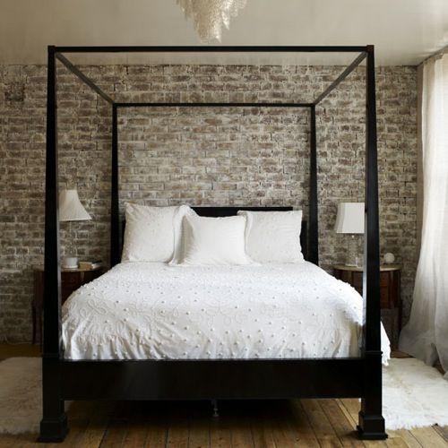 10 Rustikale Bett Designs Den Landhausstil Nach Hause Einladen Brick Bedroom Brick Wall Bedroom Four Poster Bed