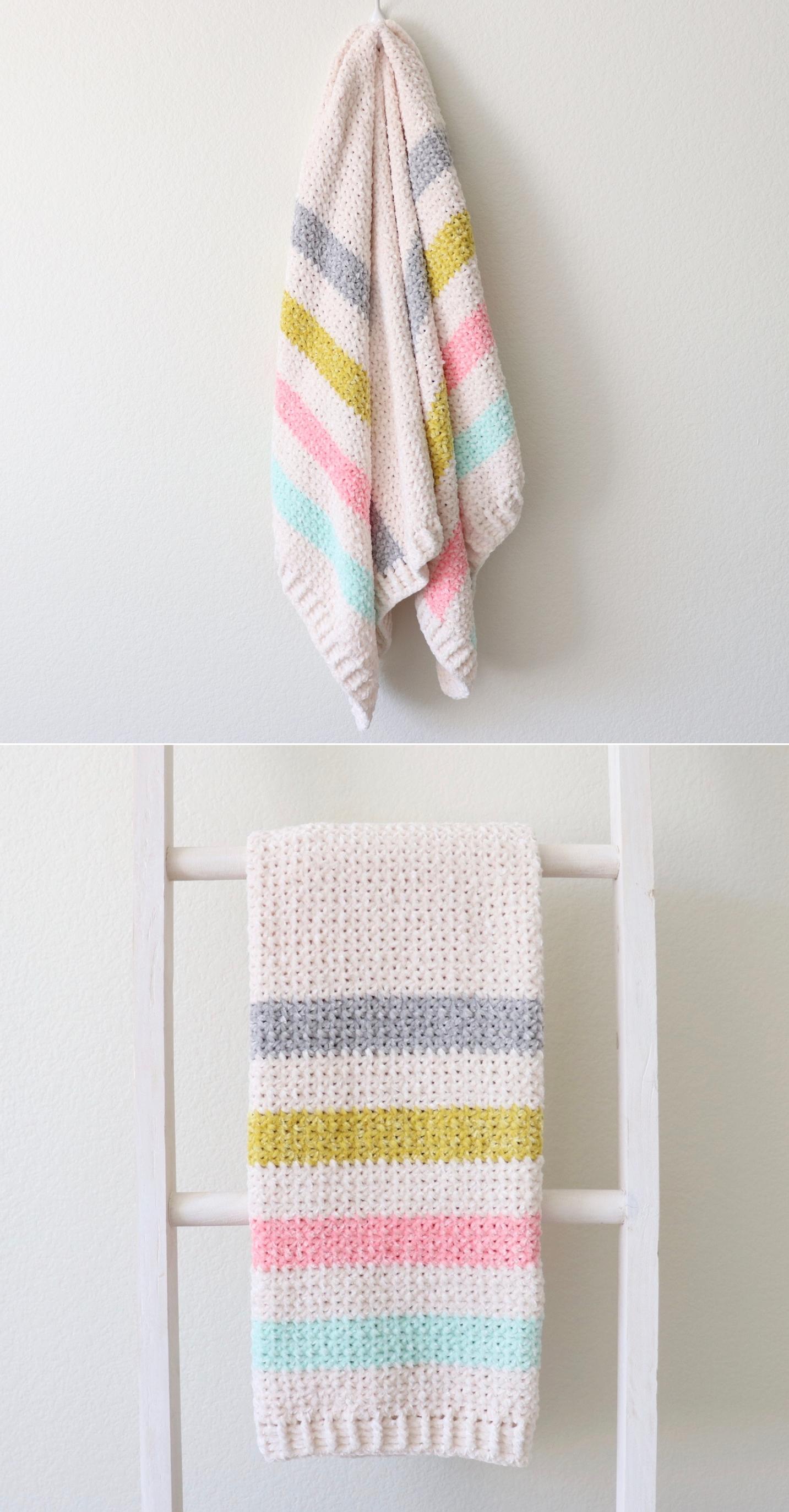Free Pattern - Crochet Unicorn Stripes Baby Blanket ...