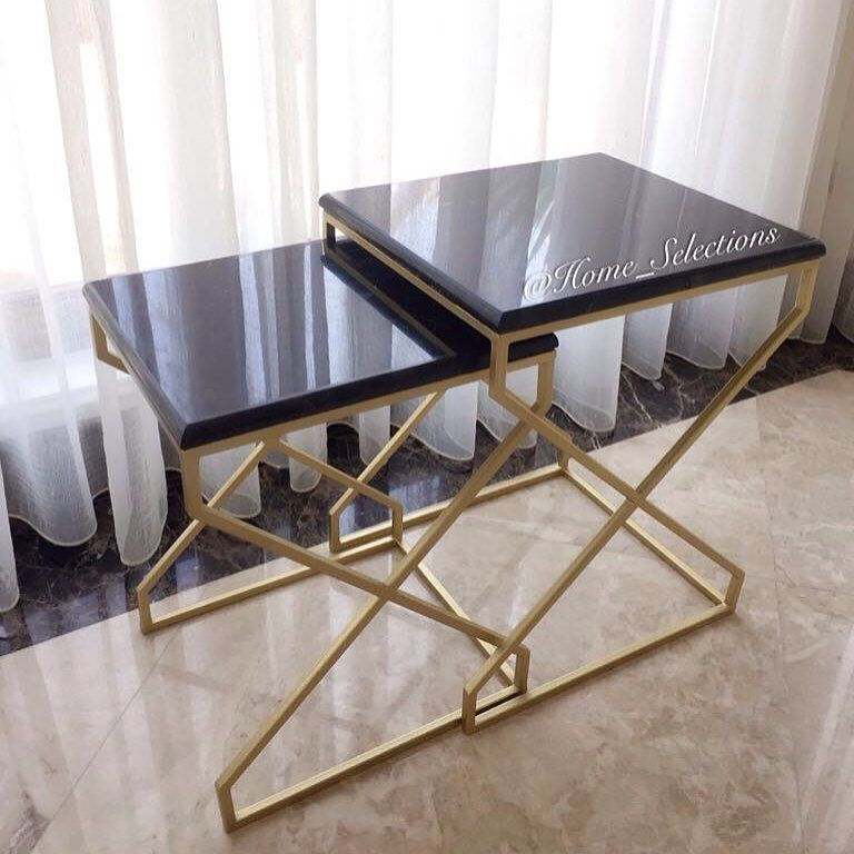 Home Selectionsمن تنفيذنا لطلبات عملائنا الكرام طاولات جانبية بسطح رخام أسود مقاسات الطاولة الكبيره الارتفاع ٥٥ سم الطول والعرض Furniture Table Home Decor
