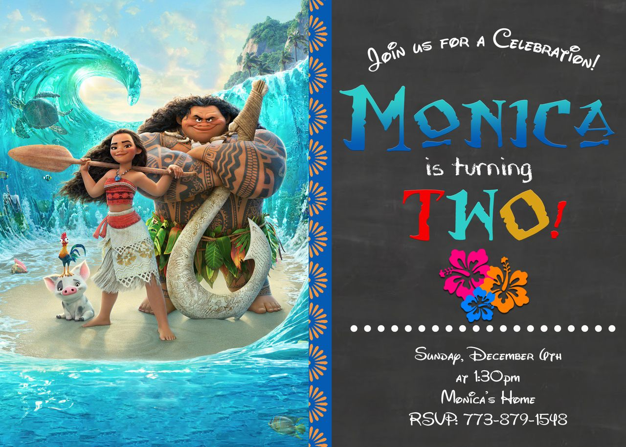 Chalkboard moana birthday invitation moana birthday moana and chalkboards for Moana invitation free