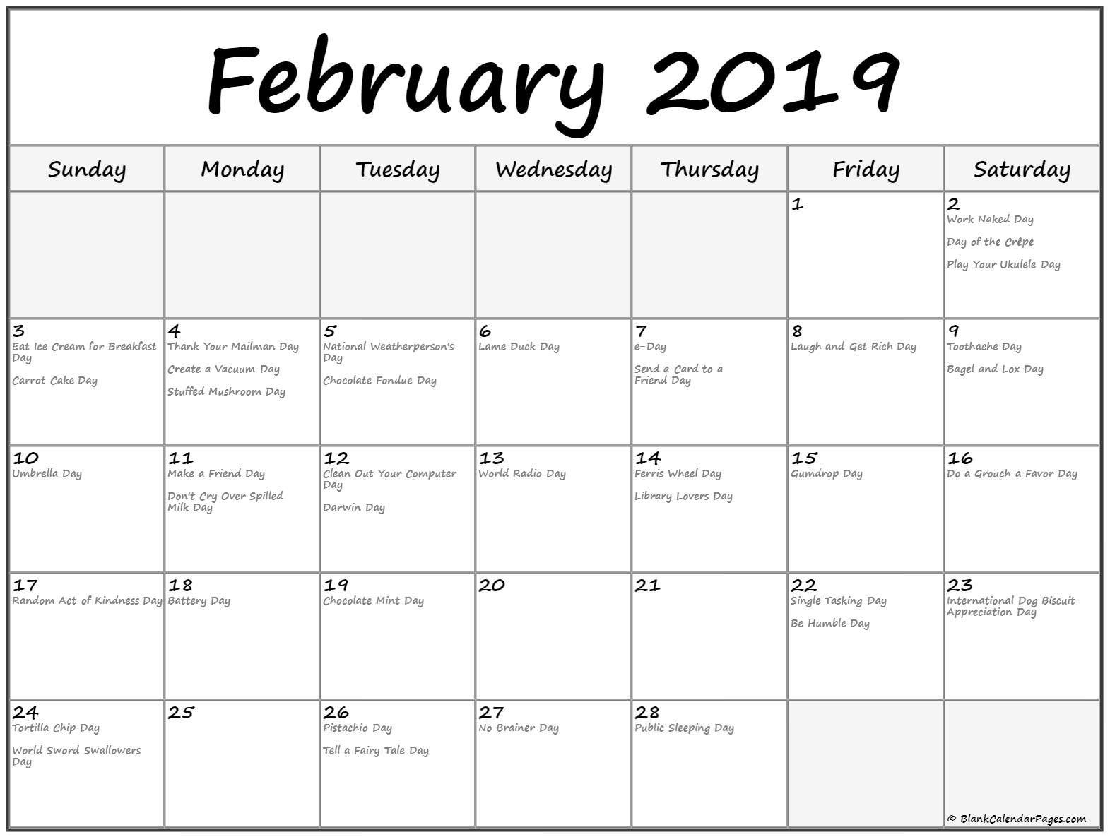 February 2019 Calendar With Funny Holidays February 2019