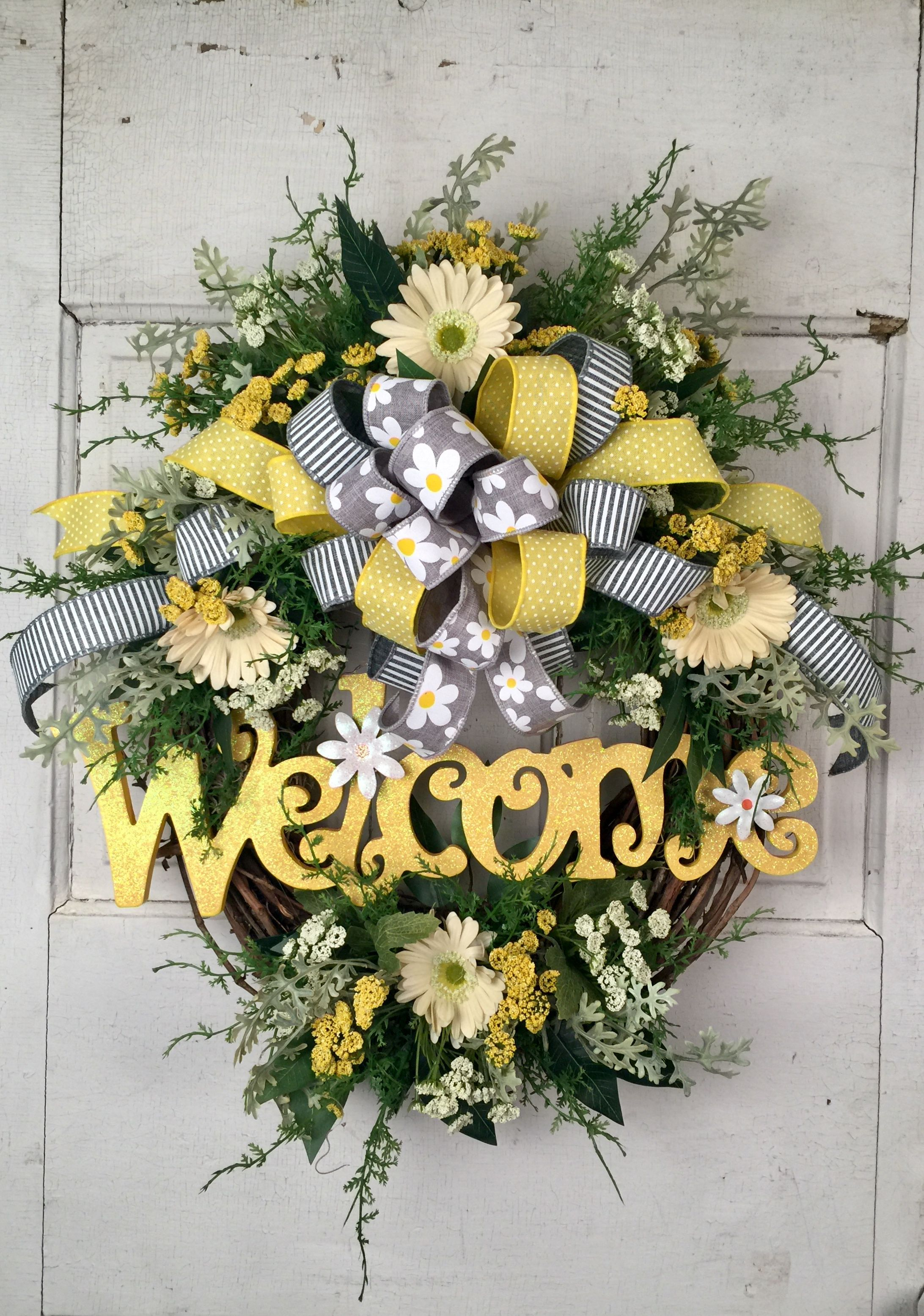 Summer Welcome Wreath Welcome wreath spring Welcome wreath Mother/'s Day Wreath