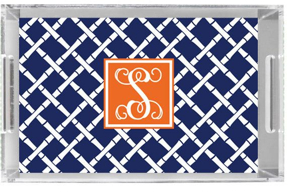 Monogrammed Lucite Tray by Gameday Girl Designs WAR EAGLE