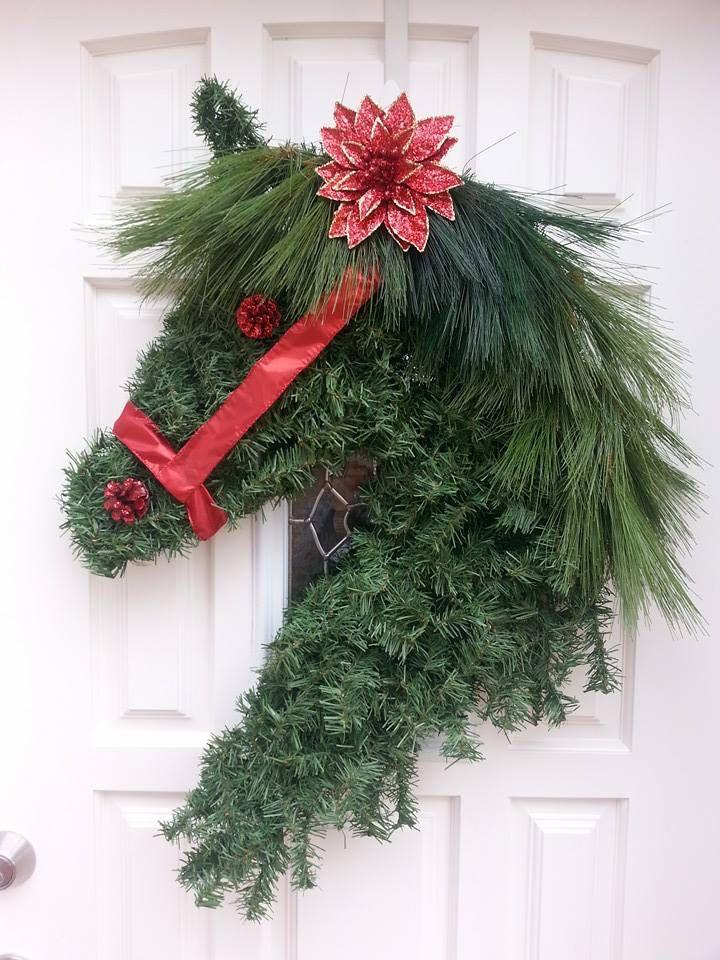 Sweet Fire Farm horse head Christmas wreath Christmas! Pinterest