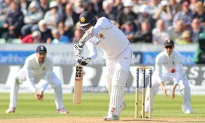 Angelo Mathews edges and is caught by Bairstow.