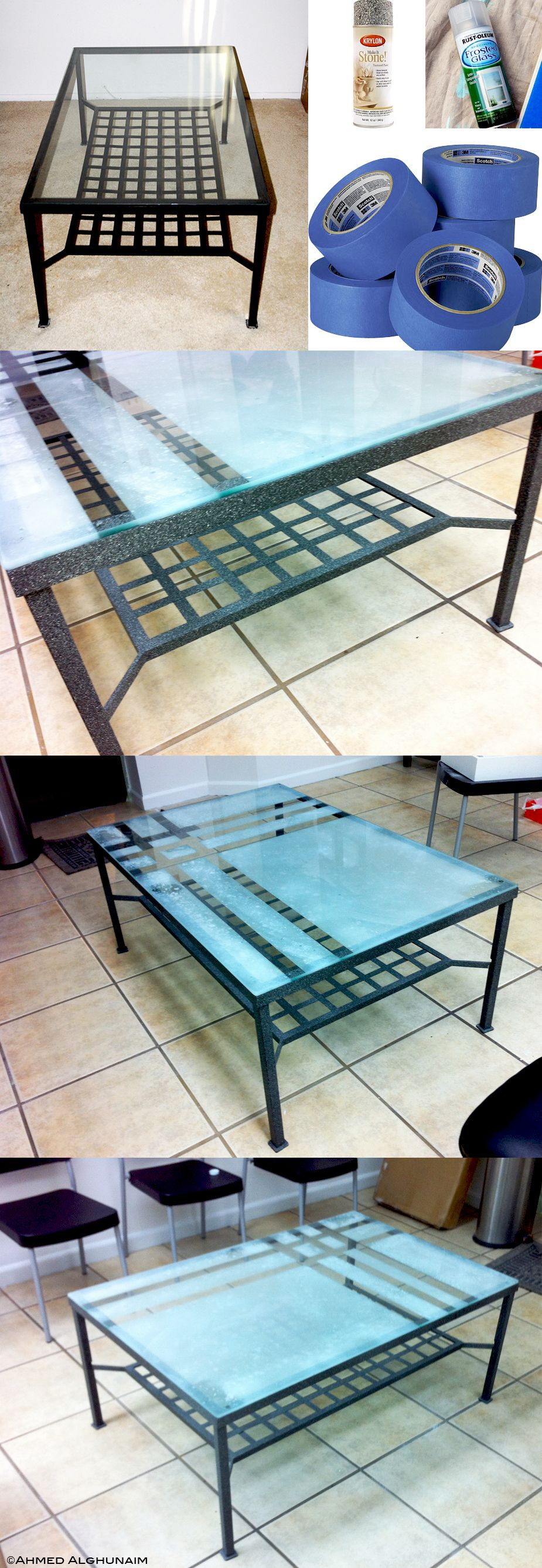 Magnificent Table Makeover In 30 Minutes What You Need Is 1 Rust Oleum Frosted Glass 11 Ounc Glass Top Table Table Makeover Glass Table [ 2675 x 925 Pixel ]