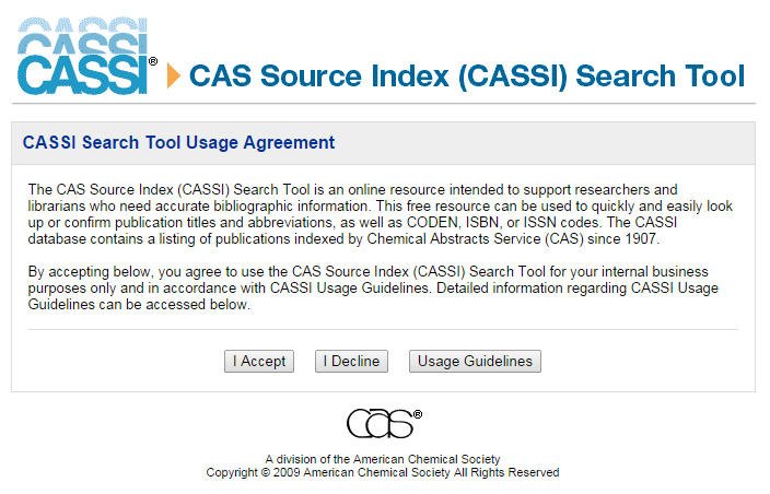 Chemistry The Cas Source Index Cassi Search Tool Is An Online Resource Intended To Support Researchers And Libra Online Science Online Resources Search Tool