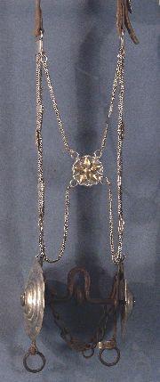 cabezada plata y oro, freno de hierro con copas enormes