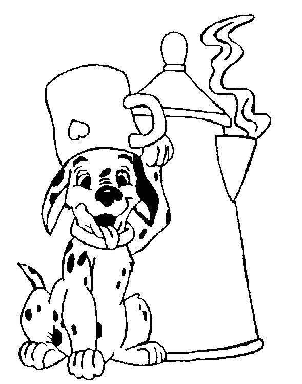 coloriage les 101 dalmatiens le chiot et la theiere | 101 Dalmations ...