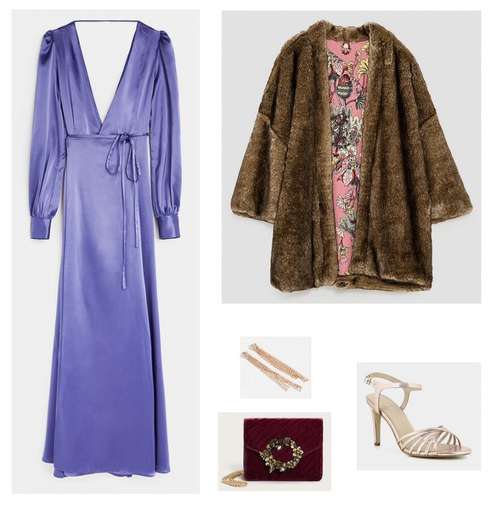 Violet satin wrap long dressgolden ankle strap heeled sandalsbrown