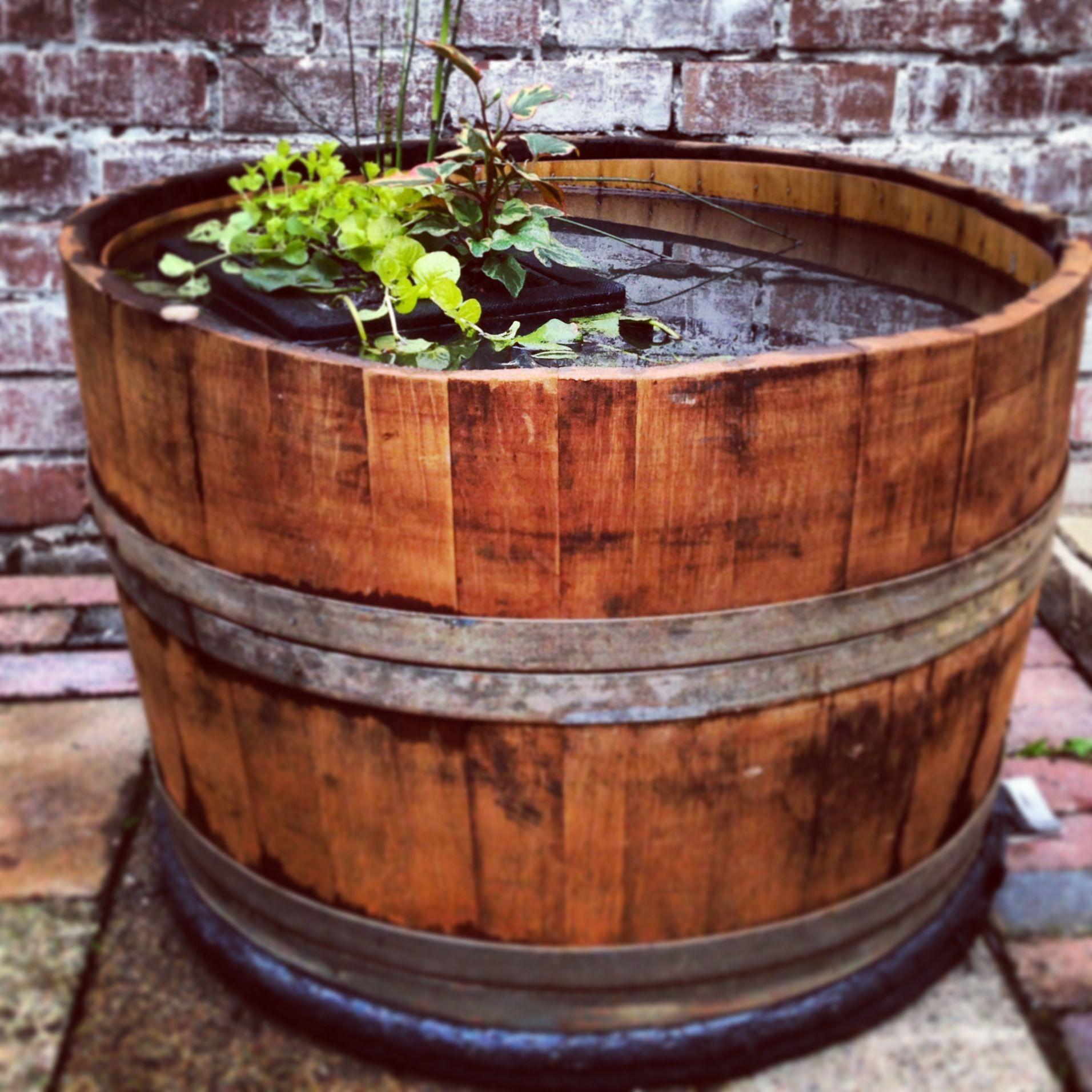 Half Whiskey Barrel Pond Fish Pond Wooden Barrel Wine Barrel