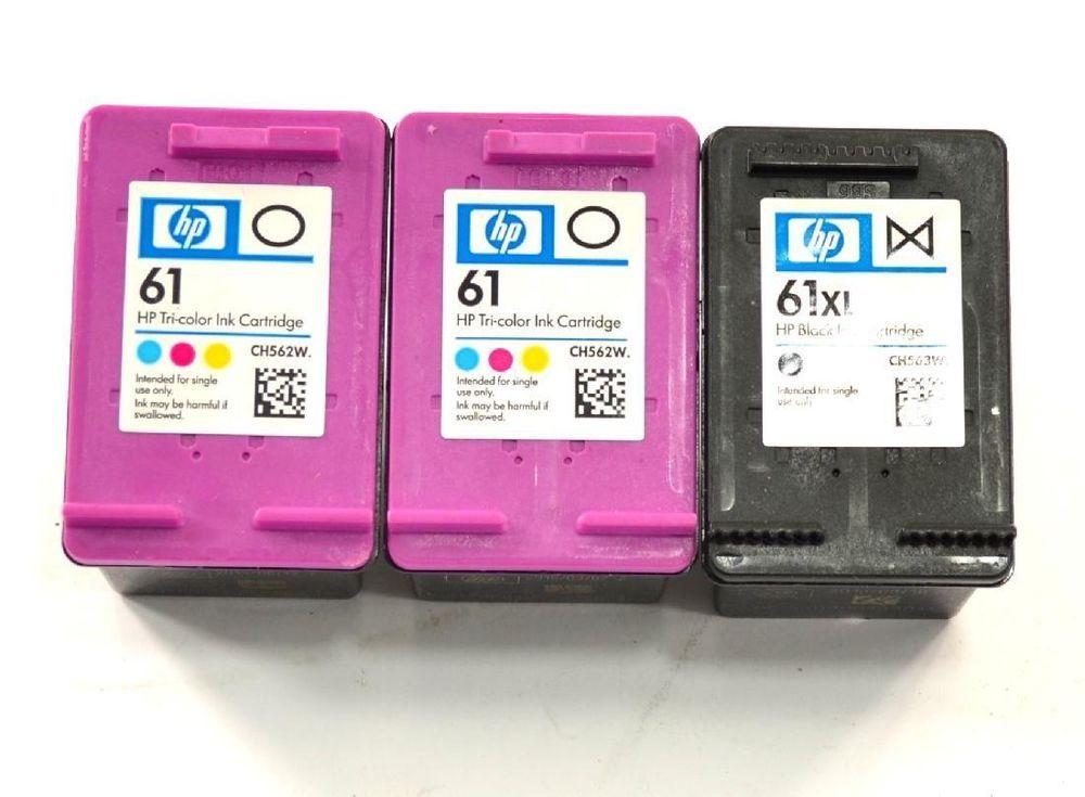 Genuine Hp Ink Cartridges 61 Color Black For All In One Printers Used Oem Ink Cartridge Black Color Cartridges