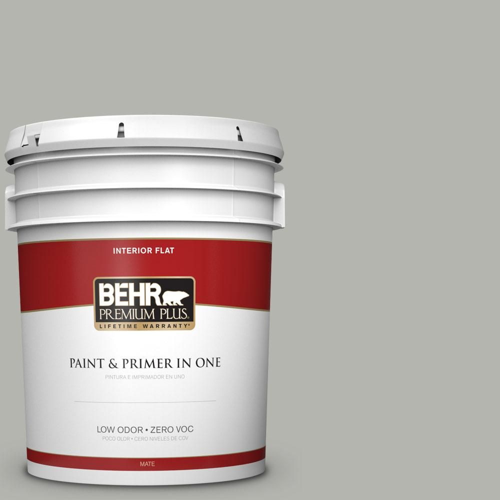 Behr Premium Plus 5 Gal Ppu25 08 Heirloom Silver Flat Low Odor Interior Paint And Primer In One 140005 Interior Paint Behr Exterior Paint