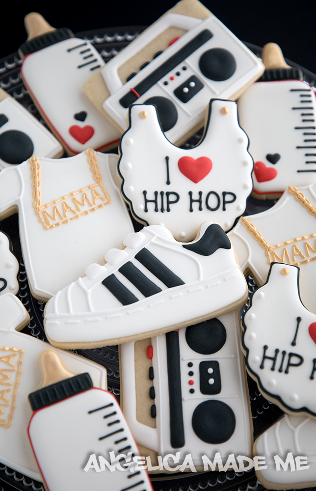 90 S Hip Hop Themed Baby Shower Cookies Hand Decorated